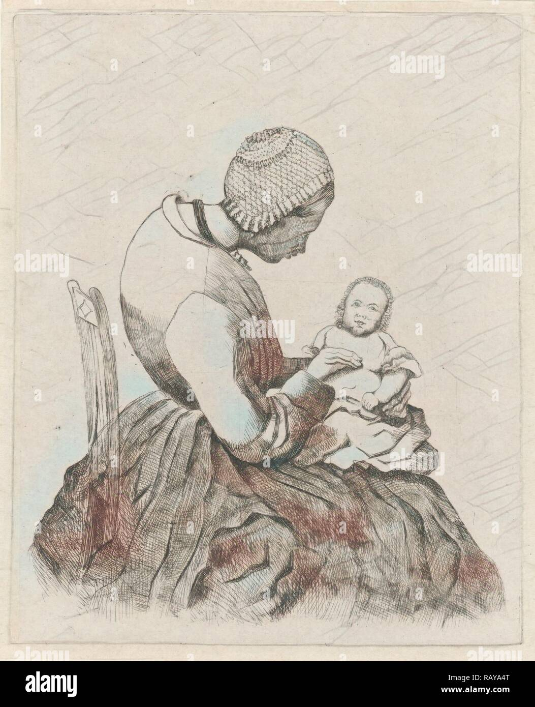 Mother with child, Eberhard Cornelis Rahms, 1859. Reimagined by Gibon. Classic art with a modern twist reimagined - Stock Image