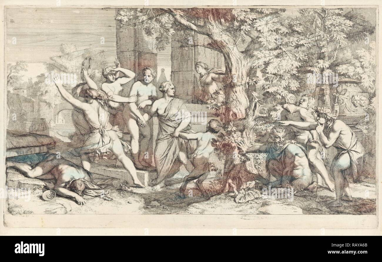 Nymphs surprised by Satyrs, Gerard de Lairesse, 1685. Reimagined by Gibon. Classic art with a modern twist reimagined Stock Photo
