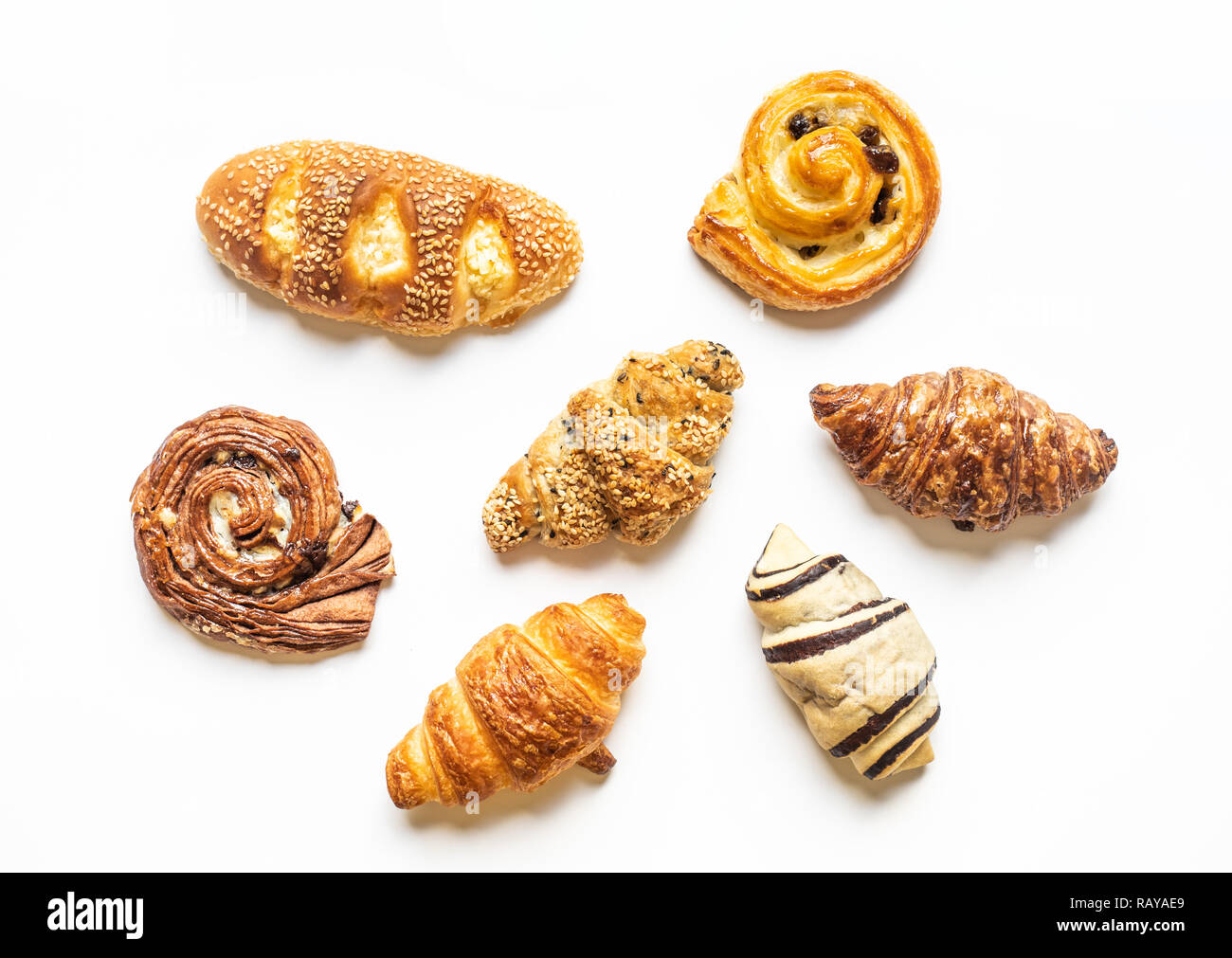Top view of bread and bakery set on blue color background.Food and healthy concepts images - Stock Image