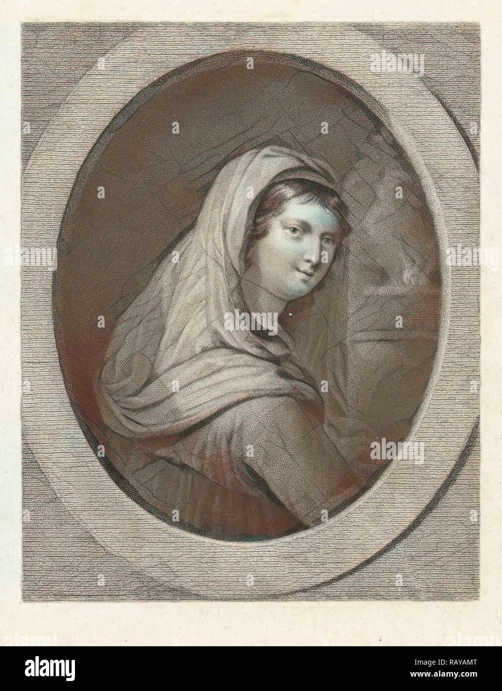 Young woman with a veil, in the background a fire, Lambertus Antonius Claessens, Guido Reni, c. 1829 - c. 1834 reimagined - Stock Image