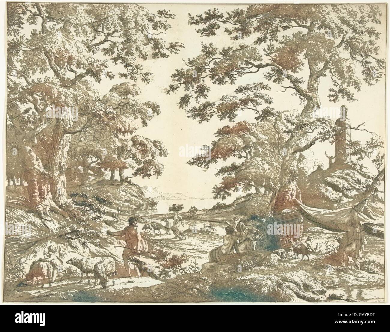 Arcadian landscape with Janus Picture, Marie Lambertine Coclers, 1776 - 1815. Reimagined by Gibon. Classic art with a reimagined - Stock Image