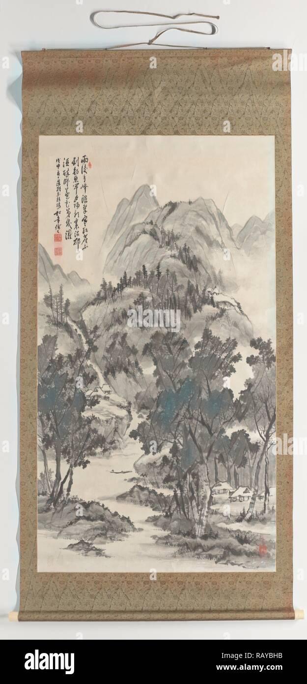 Summer landscape, Suzuki Shonen, 1908. Reimagined by Gibon. Classic art with a modern twist reimagined - Stock Image
