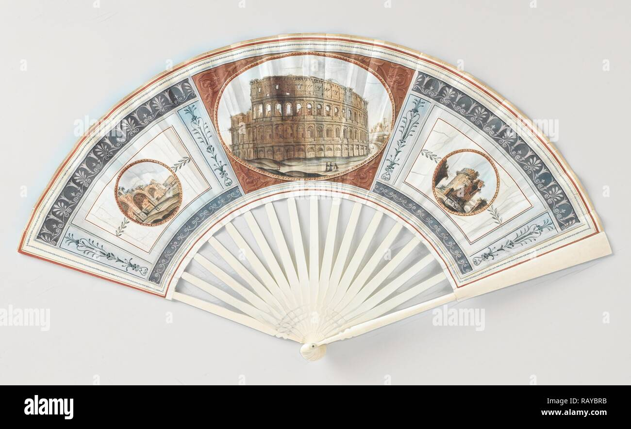 Folding fan with sheet of goatskin, which with gouache the Colosseum, the Baths of Caracalla (l) and the Tomb of reimagined - Stock Image