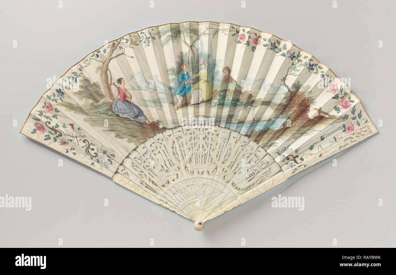 Folding fan painted with a Landscape in openwork carved ivory frame, Anonymous, c. 1750 - c. 1775. Reimagined - Stock Image