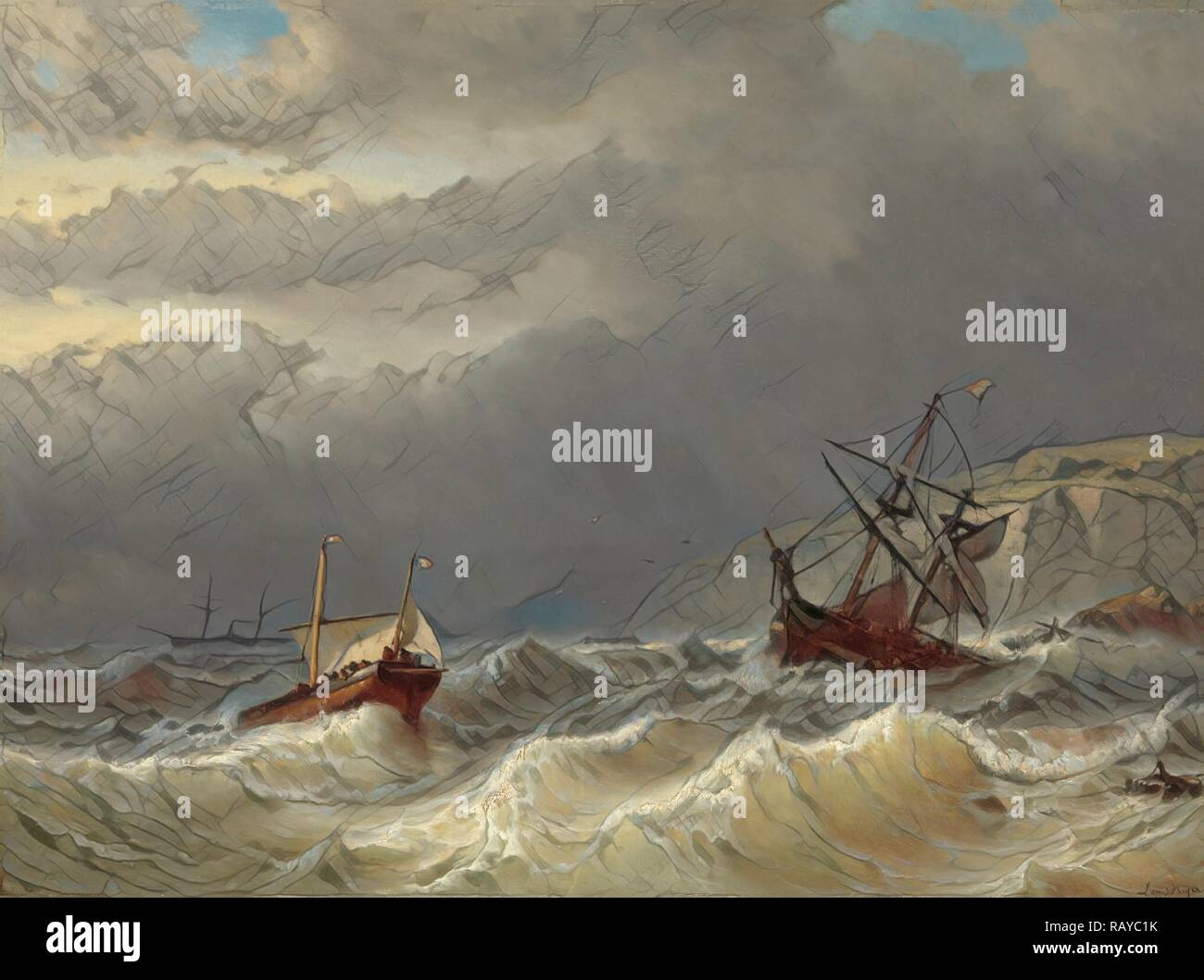 Storm in the Strait of Dover, Louis Meijer, 1819 - 1866. Reimagined by Gibon. Classic art with a modern twist reimagined - Stock Image
