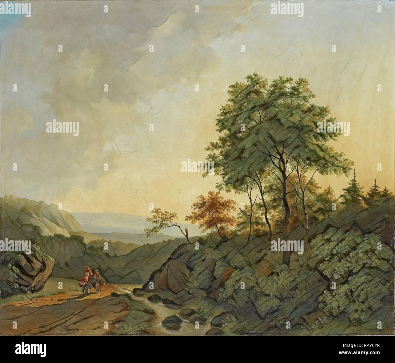 View in the Harz Mountains Germany, Cornelis François Roos, 1840. Reimagined by Gibon. Classic art with a modern reimagined Stock Photo