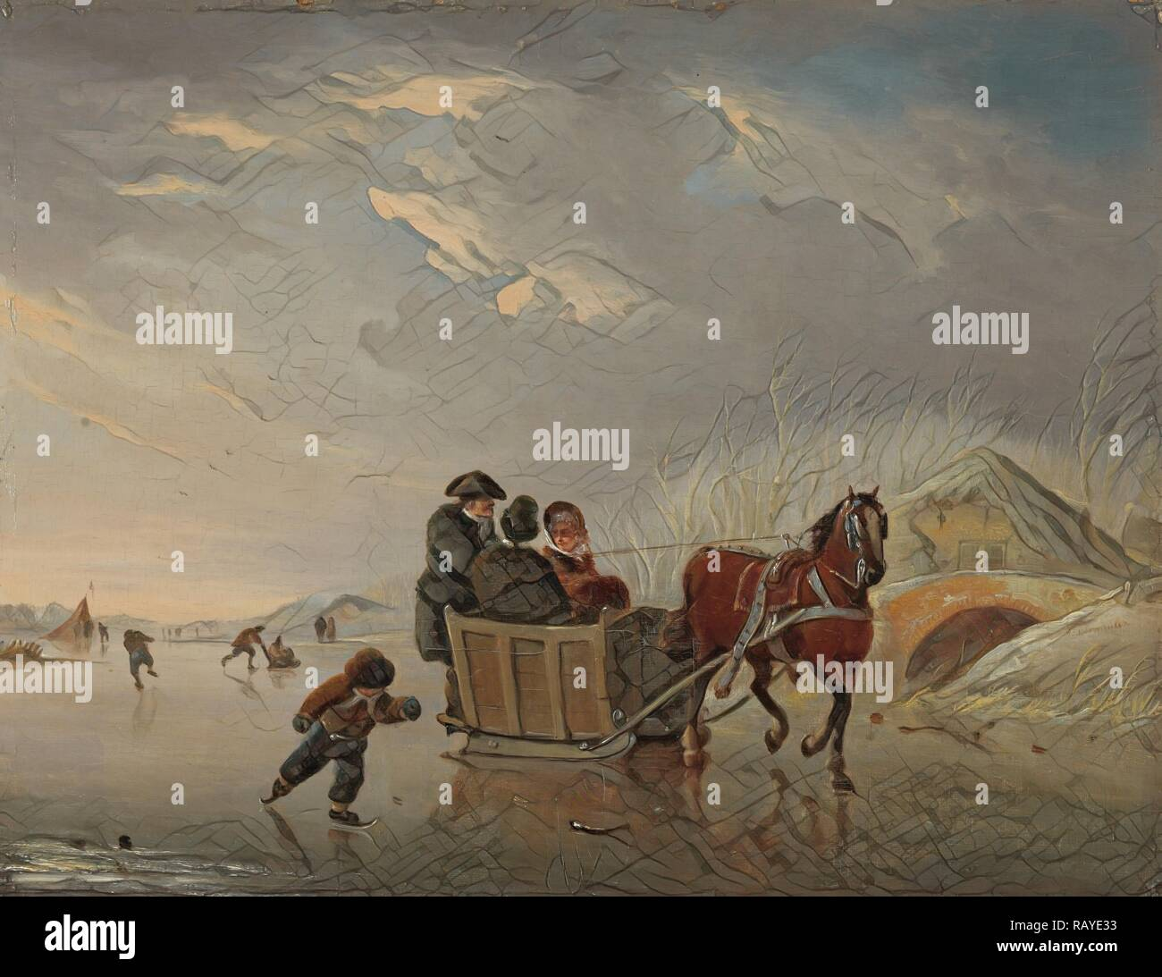 Winter Scene Horse Sleigh On The Ice Andries Vermeulen 1790 1814 Reimagined By Gibon Classic Art With A Modern Reimagined Stock Photo Alamy