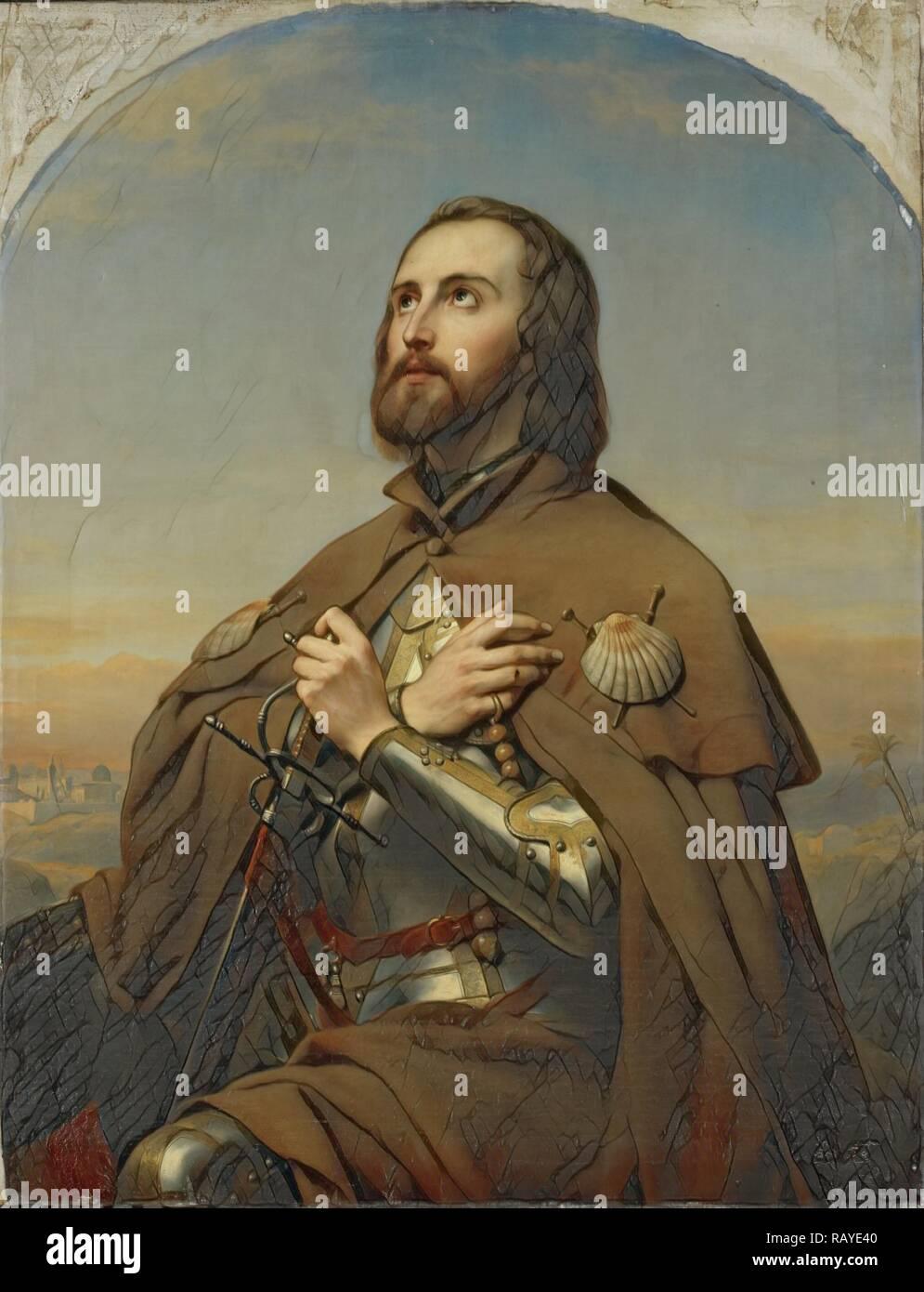 Eberhard, 1445-96, Duke of Württemberg as a pilgrim, the Holy Land, Nicaise De Keyser, 1846. Reimagined - Stock Image