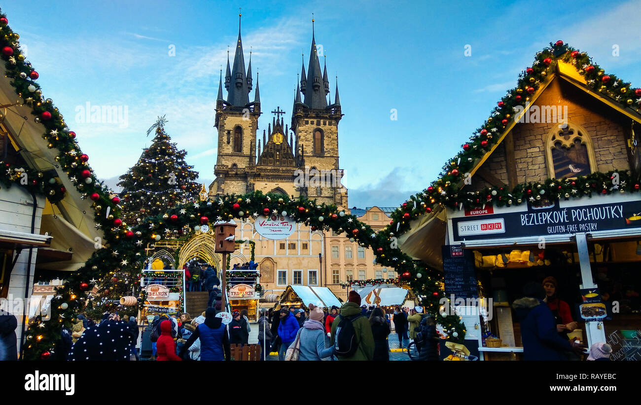 PRAGUE, CZECH REPUBLIC - DECEMBER 31, 2018: Christmas market in the old town square of Prague Stock Photo