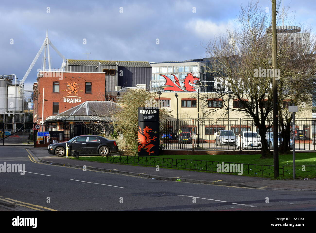 Brains brewery from across the street, Cardiff, South Glamorgan, Wales - Stock Image