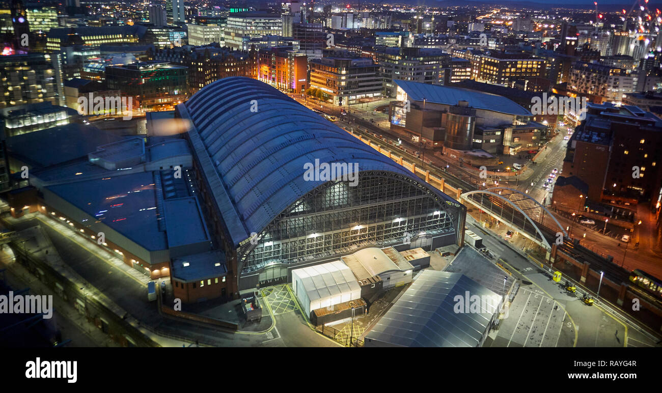 Manchester at night Manchester Central Convention Complex, former central railway station  and gmex - Stock Image