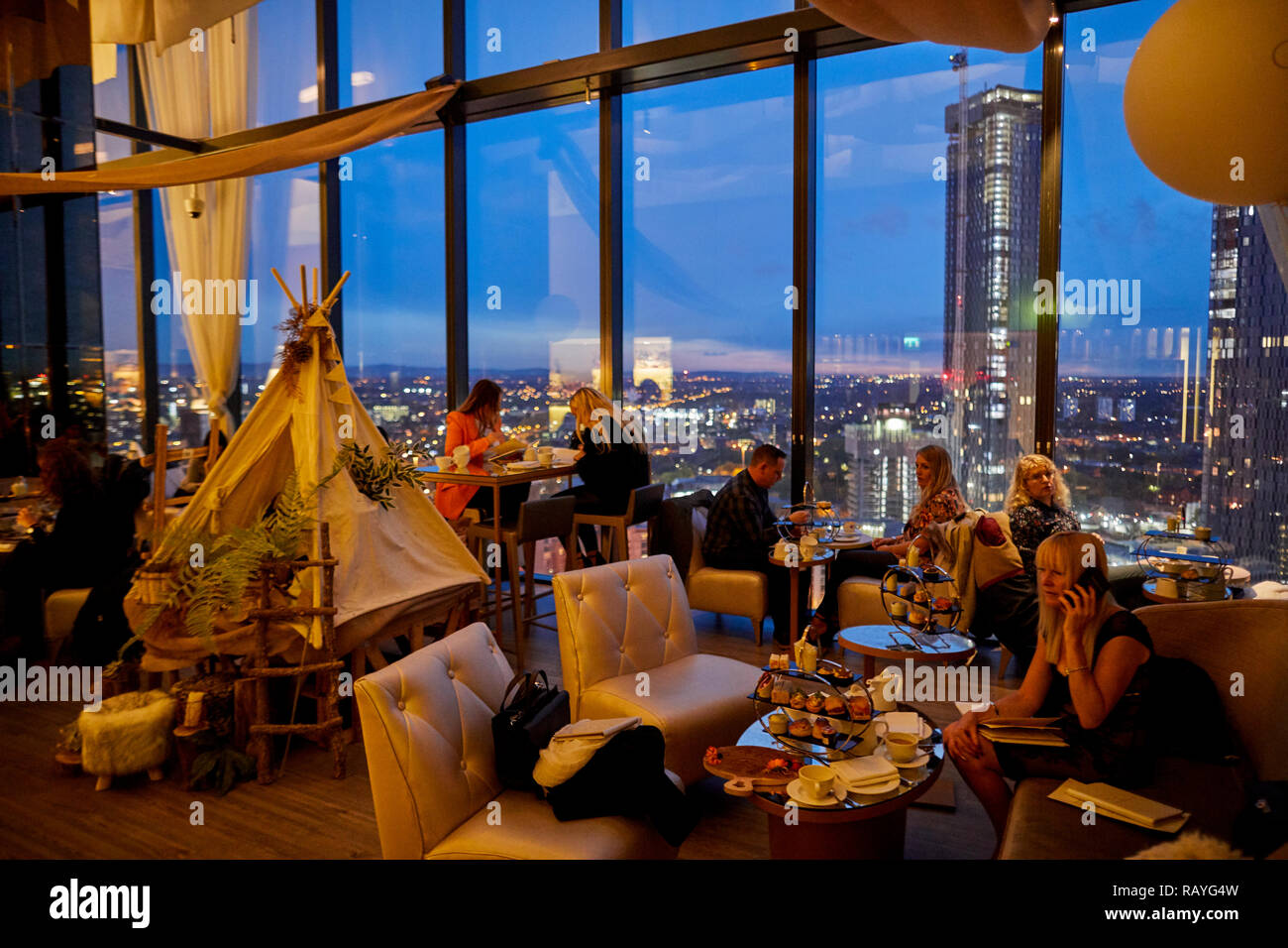 Manchester at night inside cloud 23 - Stock Image
