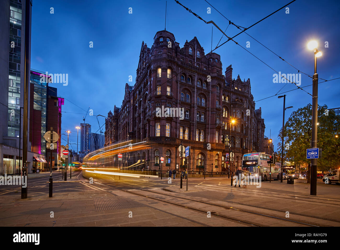 Manchester at night Manchester Midland Hotel and at Peters Square - Stock Image