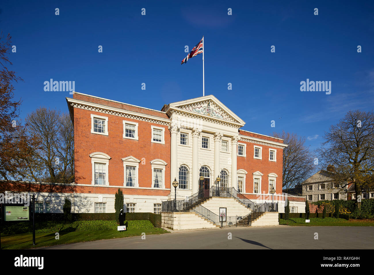 former house palladian style Warrington Town Hall, Cheshire, England originally called Bank Hall Grade I listed building by architect James Gibbs - Stock Image