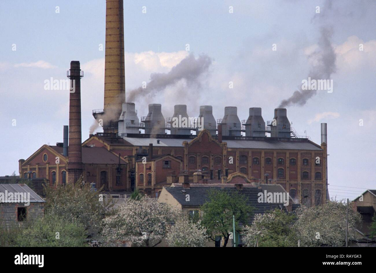 East Germany, plant for the refinement of the lignite coal (brown coal) - Stock Image