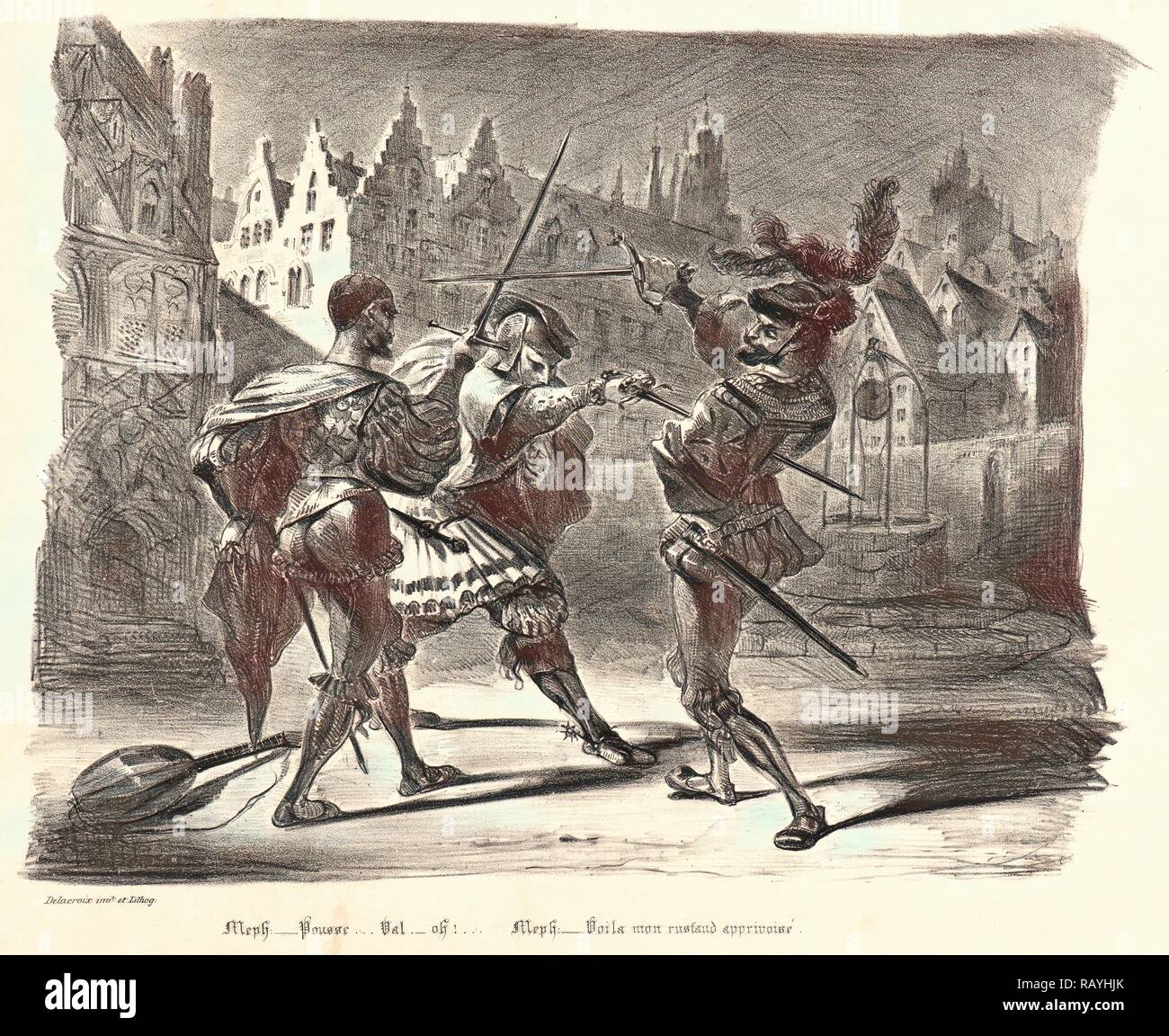 Eugène Delacroix (French, 1798 - 1863). Duel of Faust and Valentin (Duel de Faust et de Valentin), 1828. From Faust reimagined - Stock Image