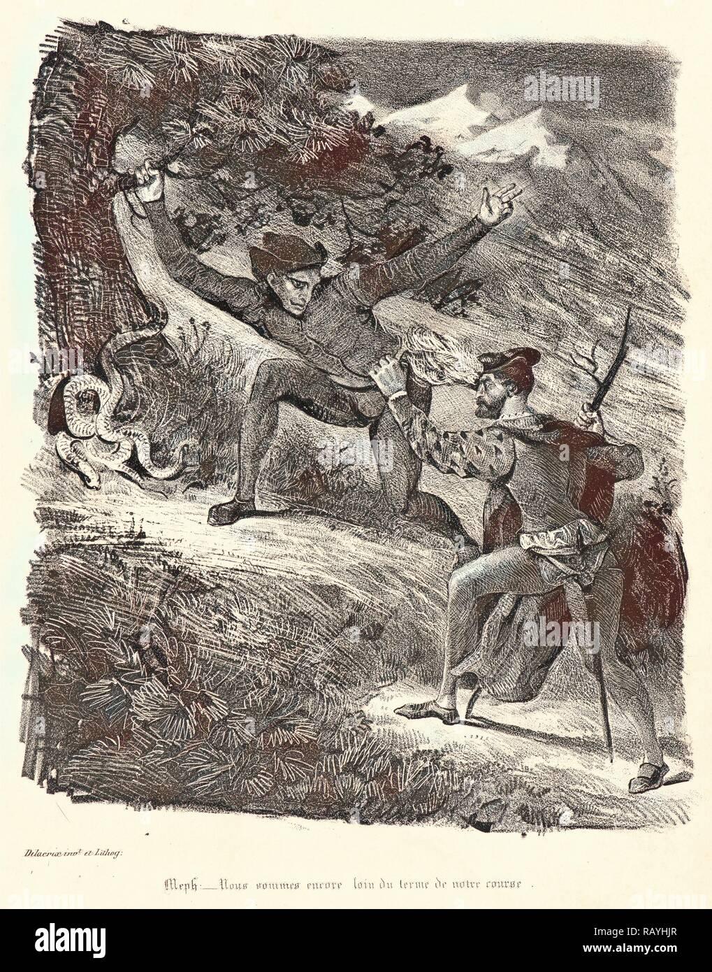 Eugène Delacroix (French, 1798 - 1863). Faust and Mephistopheles in the Hartz Mountains (Faust et Méphistophélès dans reimagined - Stock Image