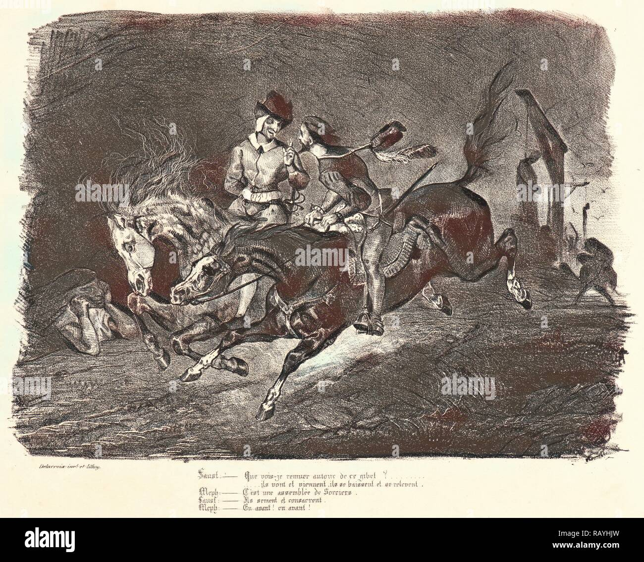 Eugène Delacroix (French, 1798 - 1863). Faust and Mephistopheles Galloping on the Night of the Sabbath (Faust et reimagined - Stock Image