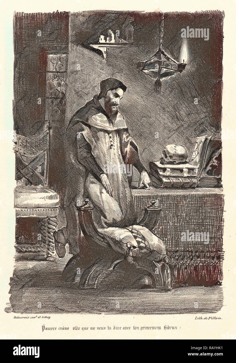 Eugène Delacroix (French, 1798 - 1863). Faust in His Study (Faust dans son cabinet), 1828. From Faust. Lithograph reimagined - Stock Image