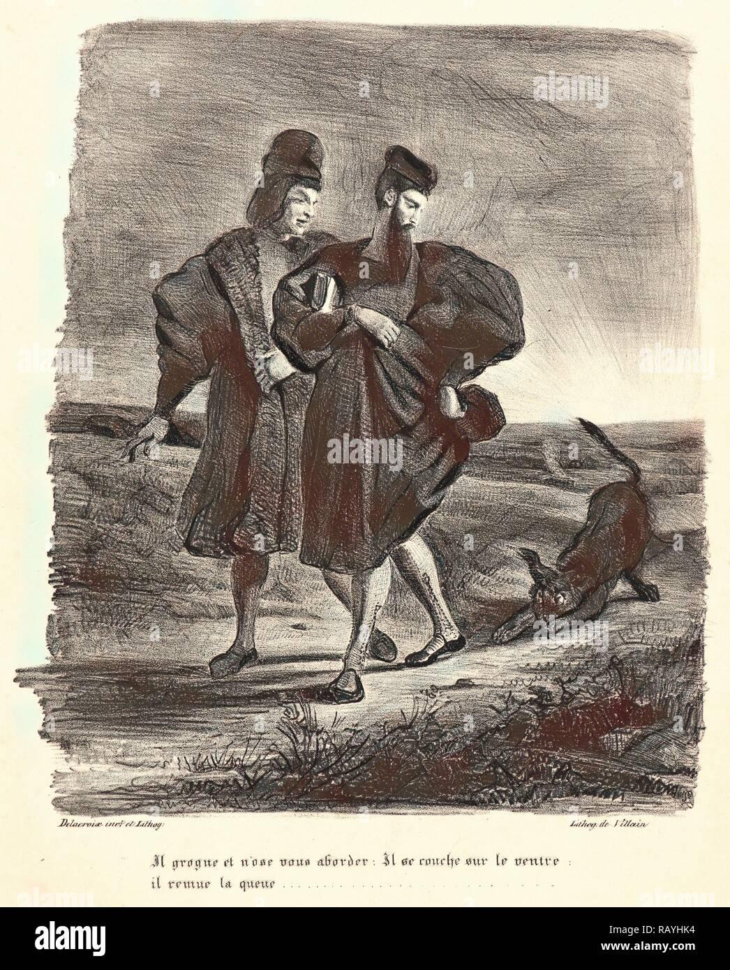 Eugène Delacroix (French, 1798 - 1863). Faust, Mephistopheles, and the Water Dog (Faust, Méphistophélès et le barbet reimagined - Stock Image
