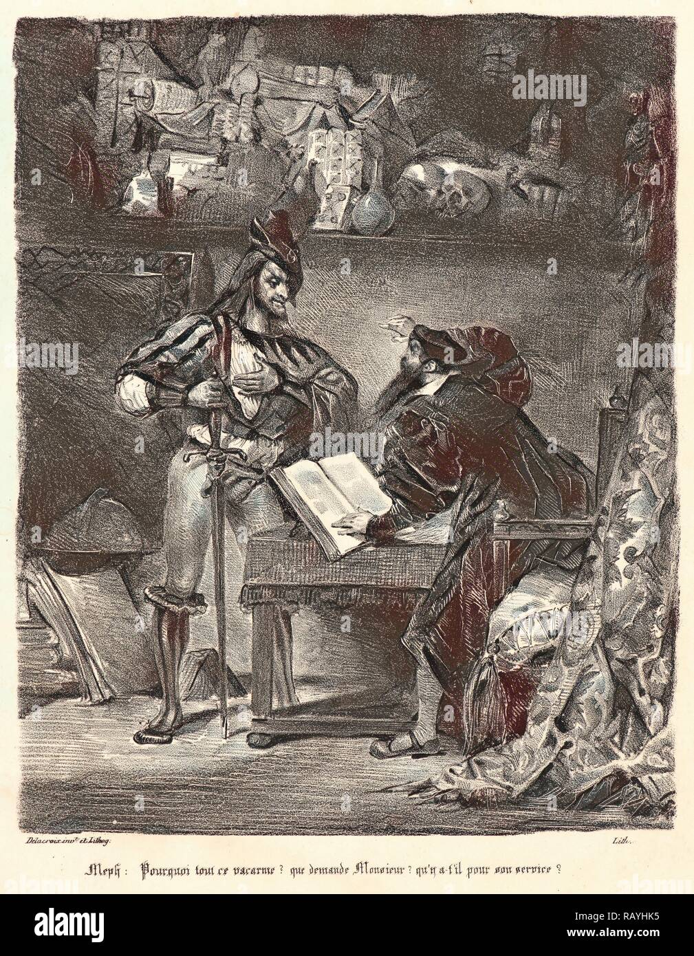 Eugène Delacroix (French, 1798 - 1863). Mephistopheles Appearing to Faust (Méphistophélès apparaissant à Faust), 1828 reimagined - Stock Image
