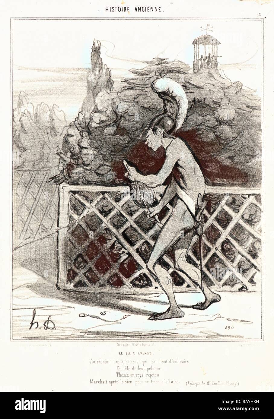 Honoré Daumier (French, 1808 - 1879). Le fil d'Ariane, 1842. From Histoire Ancienne. Lithograph on white wove paper reimagined Stock Photo