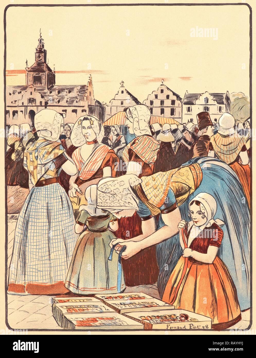 Fernand Piet (French, 1869 - 1942). Un Marché En Zélande, 1898. Color lithograph on wove paper. Sheet: 405 mm x 308 reimagined - Stock Image