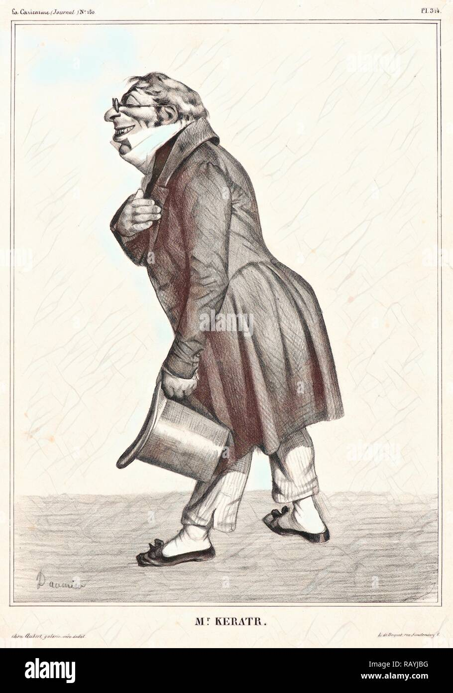 Honoré Daumier (French, 1808 - 1879). M. Keratr., 1833. Lithograph on white wove paper. Image: 278 mm x 204 mm (10.94 reimagined - Stock Image