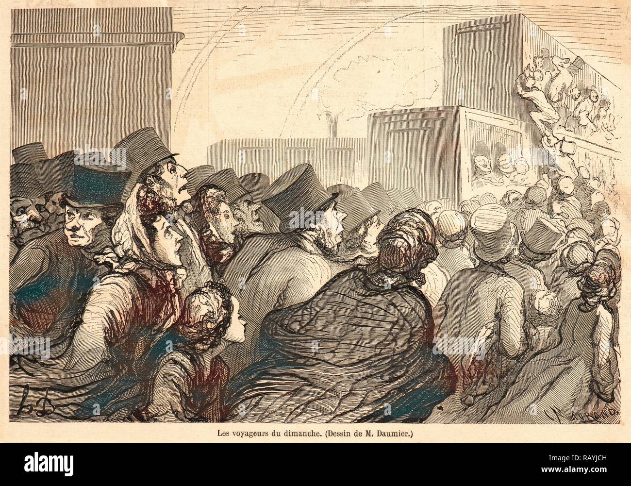 C. Maurand (French, active 19th century) after Honoré Daumier (French, 1808 - 1879). Les Voyageurs du Dimanche, 1862 reimagined - Stock Image