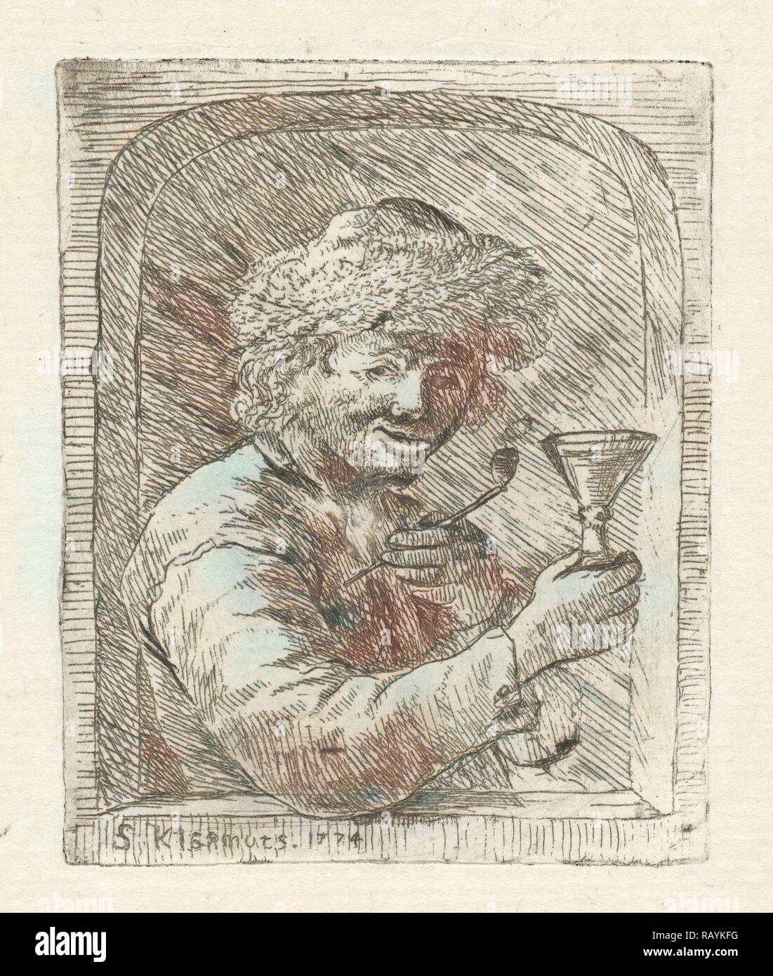 Pipe Smoking drinker, Simon Klapmuts, 1774. Reimagined by Gibon. Classic art with a modern twist reimagined - Stock Image