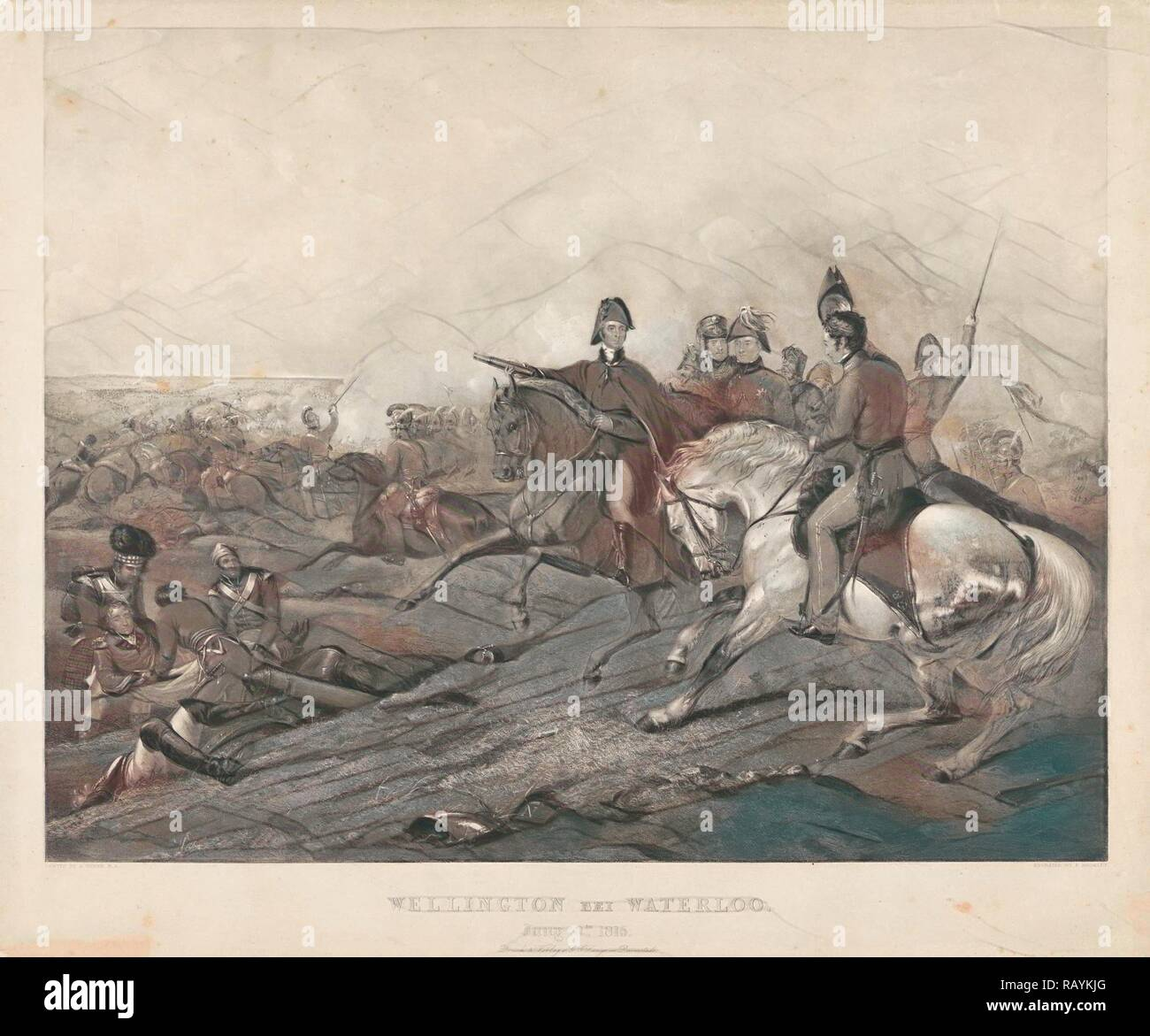 Wellington at the Battle of Waterloo, 1815, Frederick Bromley, G.G. Lange, 1837. Reimagined by Gibon. Classic art reimagined - Stock Image
