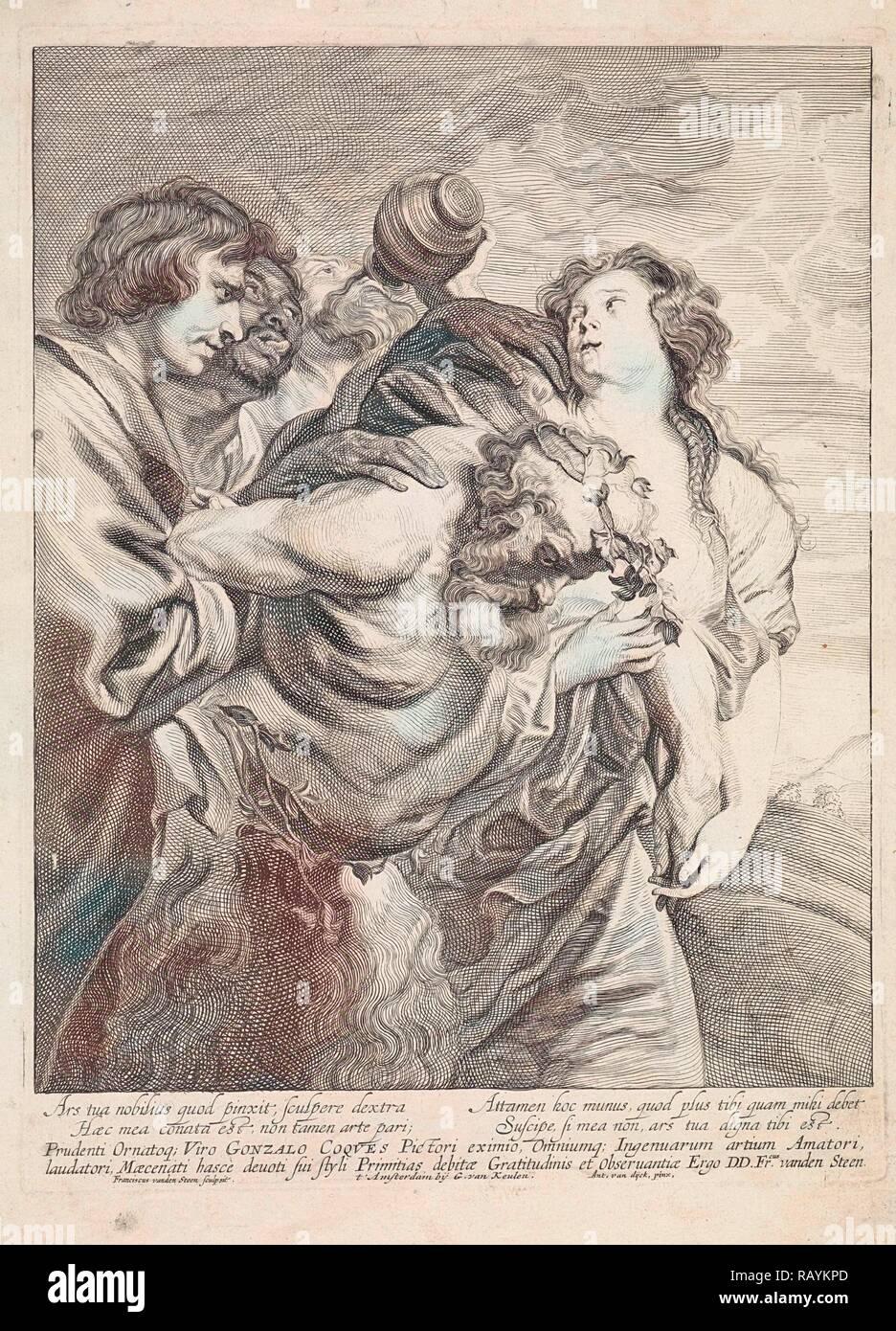 Drunken Silenus supported by Bacchantes, Franciscus van der Steen, Gerard van Keulen, 1643 - 1672. Reimagined Stock Photo