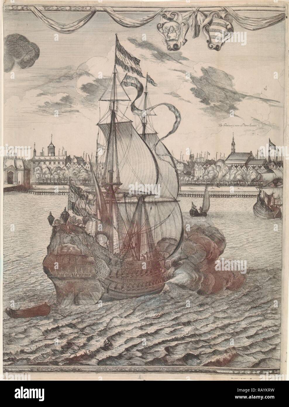 Panorama of Rotterdam, The Netherlands, print maker: attributed to Joost van Geel, Jan Houwens I, 1665. Reimagined - Stock Image