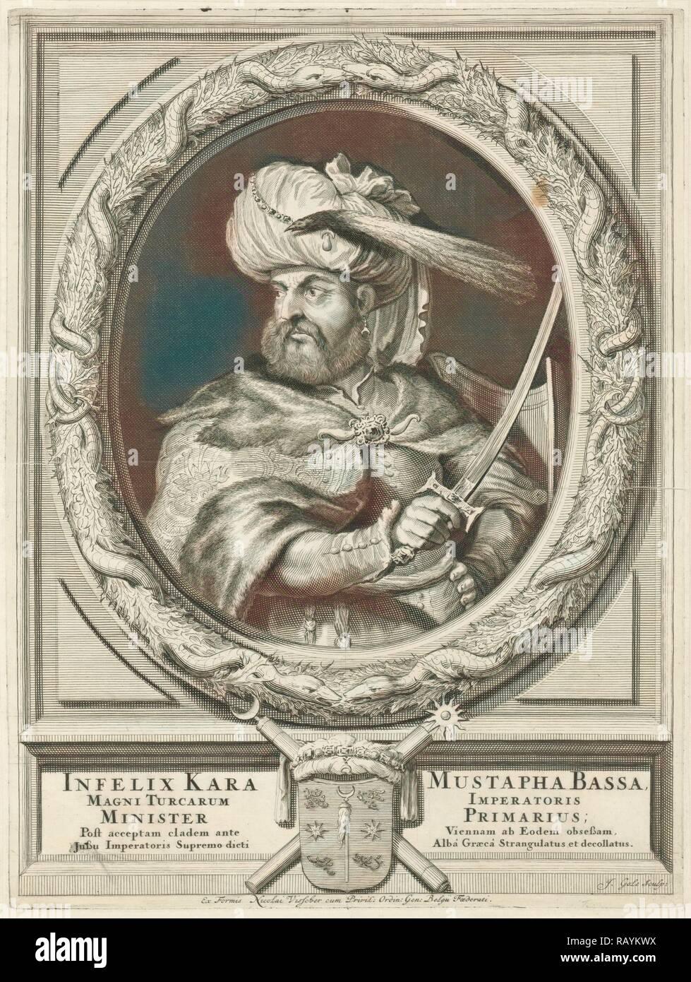 Portrait of Kara Mustafa Pasha, Jacob Gole, Nicolaas Visscher (II), Republiek der Zeven Verenigde Nederlanden, 1670 reimagined - Stock Image