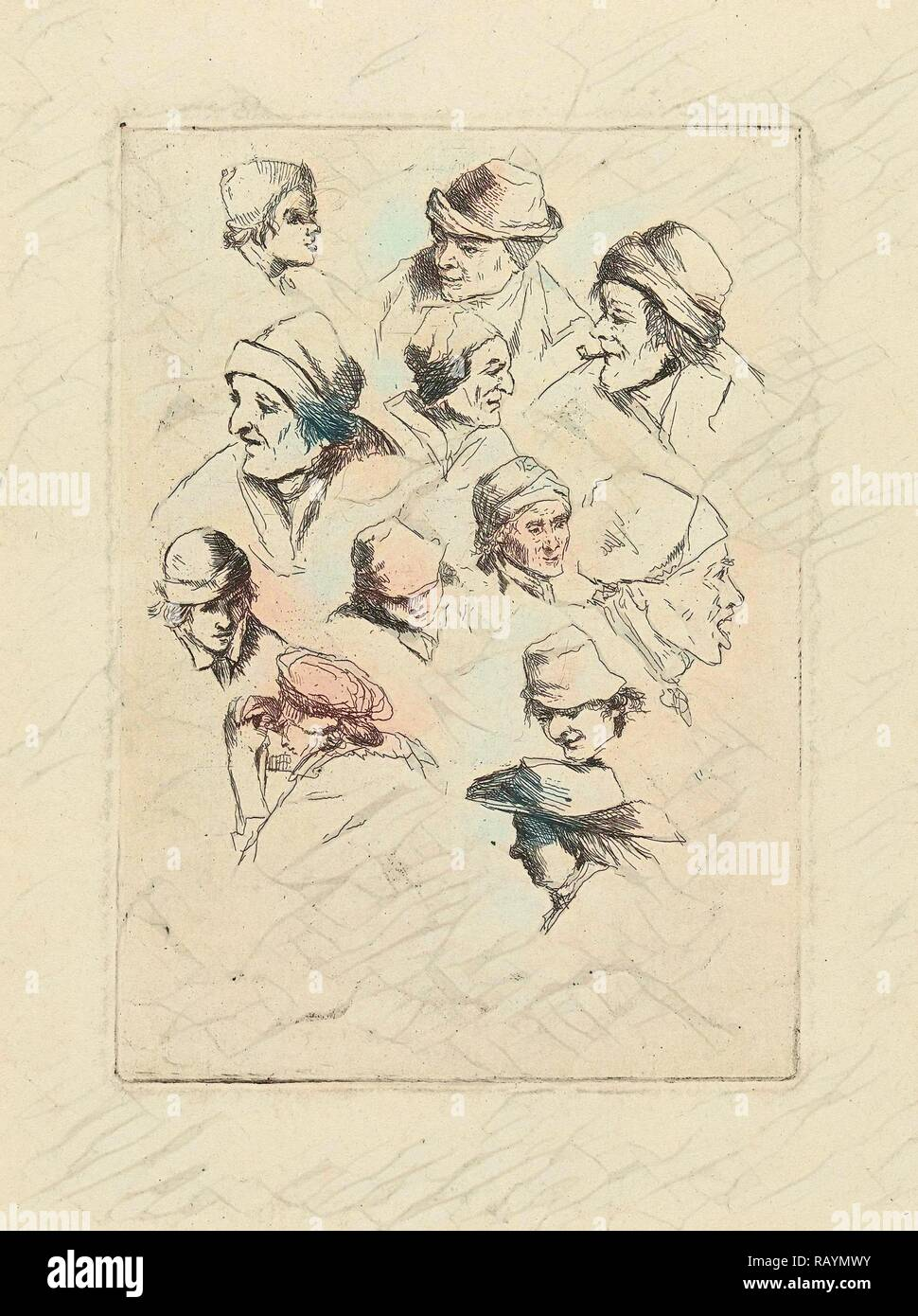 Study Sheet with twelve heads, print maker: Marie Lambertine Coclers, 1776 - 1815. Reimagined by Gibon. Classic art reimagined - Stock Image
