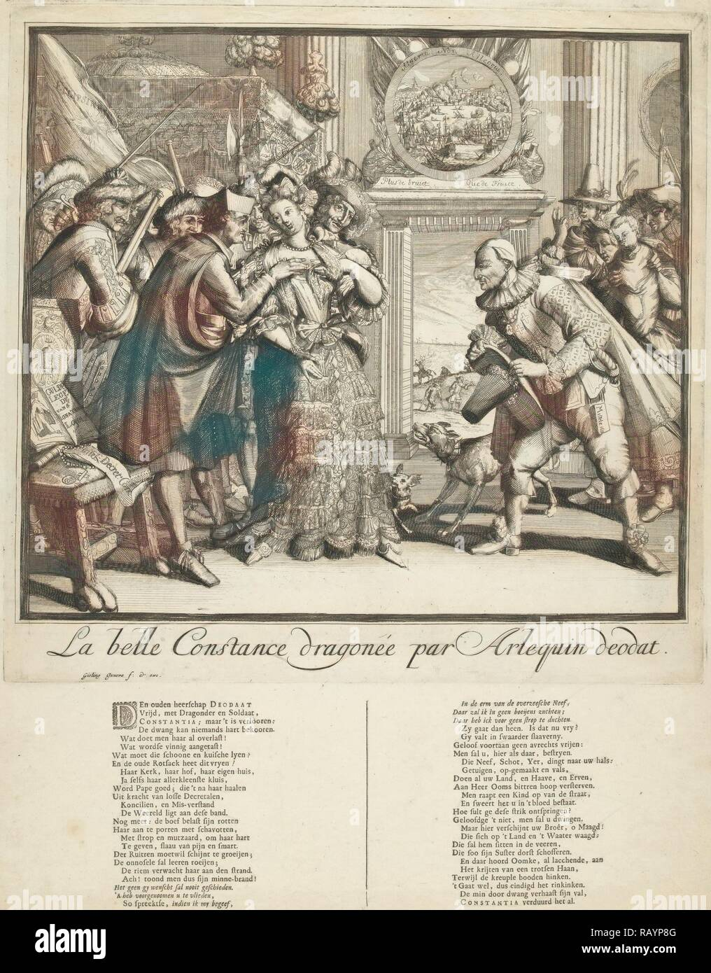 Cartoon by Louis XIV and the persecution of Protestants in France, 1689, print maker: Gisling, print maker: Romeyn de reimagined - Stock Image