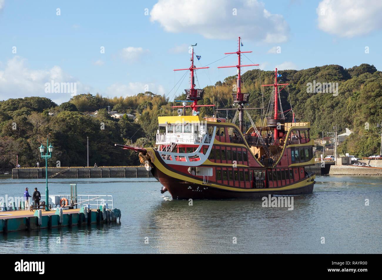 Sasebo, Japan - October 28, 2018: Kaio, historical passenger ship, tour boat for Kujuku island - Stock Image