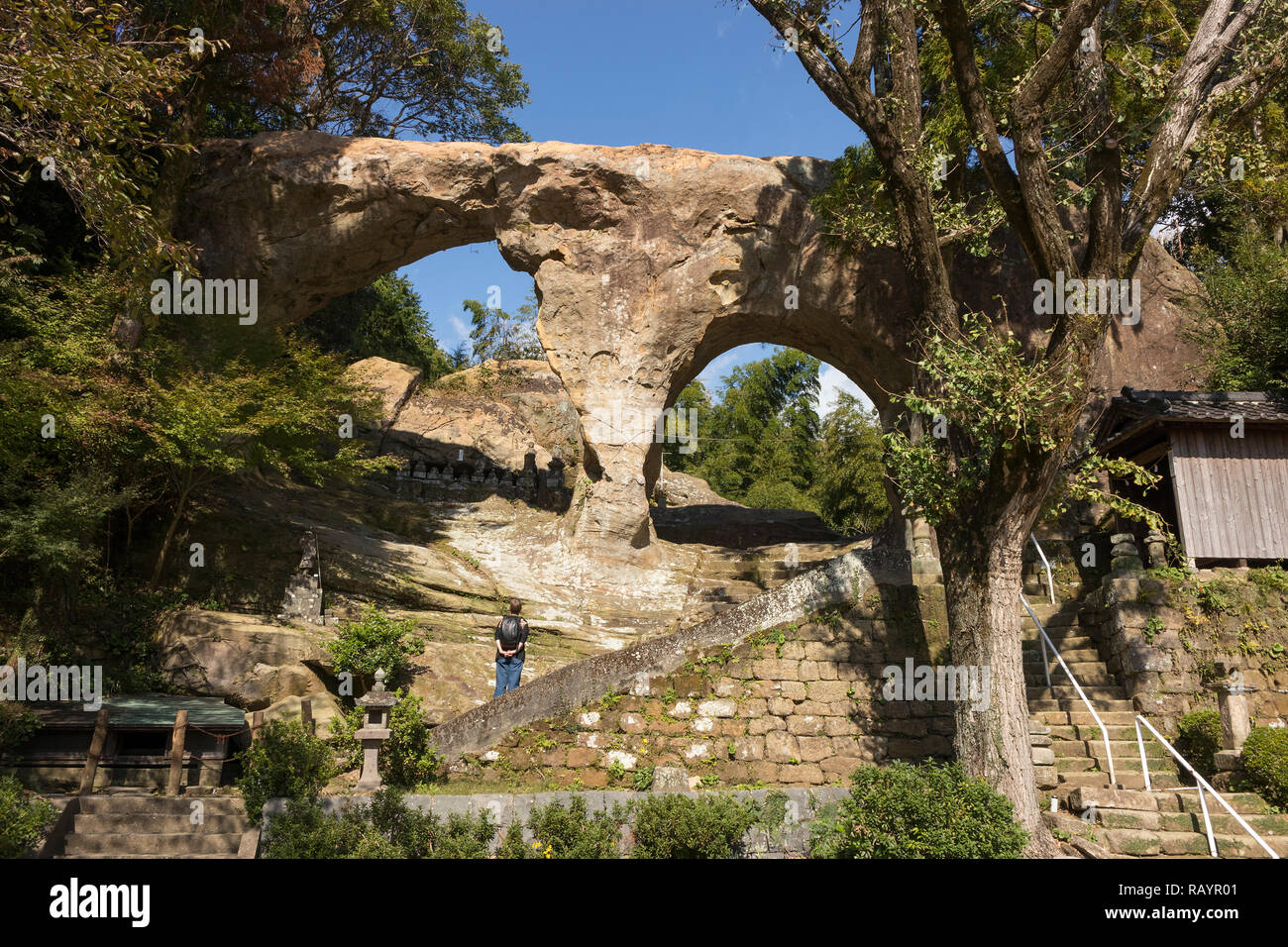 Sasebo, Japan - October 29, 2018: Spectacles rock, Meganeiwa, literally eyeglasses rock, scenic place in Sassebo - Stock Image