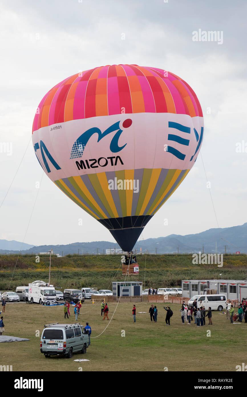 Saga, Japan - October 31, 2018: Demonstration with a hot Air Balloon at the Saga International Balloon Fiesta - Stock Image