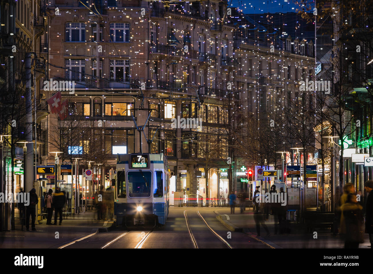 Christmas lights at Bahnhofstrasse, Zurich, Switzerland - Stock Image
