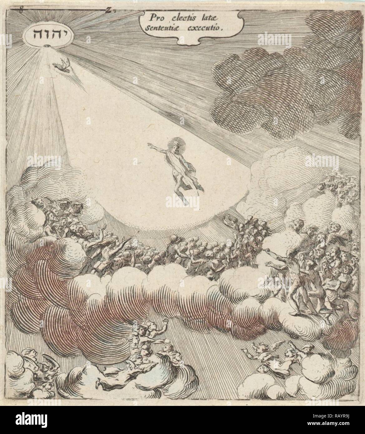 The elect are with the help of angels, back to Christ, directed upwards, print maker: Gillis van Scheyndel (I reimagined - Stock Image