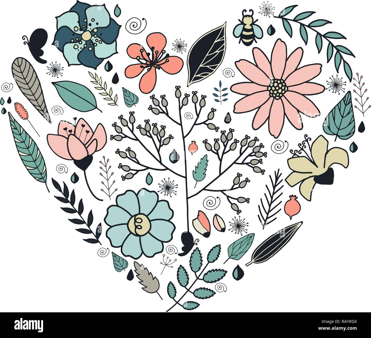 Heart Made Of Flowers In Vector Doodle Design Element In A
