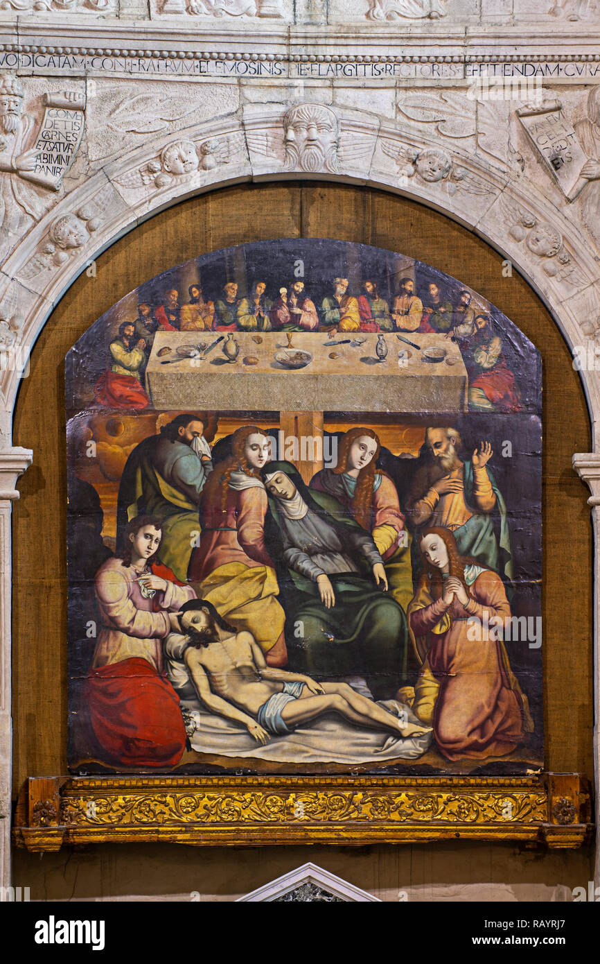 """Italy Basilicat Acerenza Cathedral the holy altarpiece painted table """"Last Supper and Deposition"""" (Antonio Stabile) Stock Photo"""