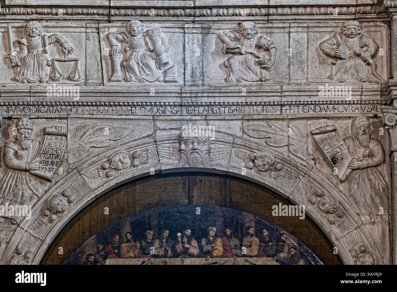 "Italy Basilicat Acerenza Cathedral the holy altarpiece (Pietro di Muro Lucano) painted table ""Last Supper"" (Antonio Stabile) Stock Photo"
