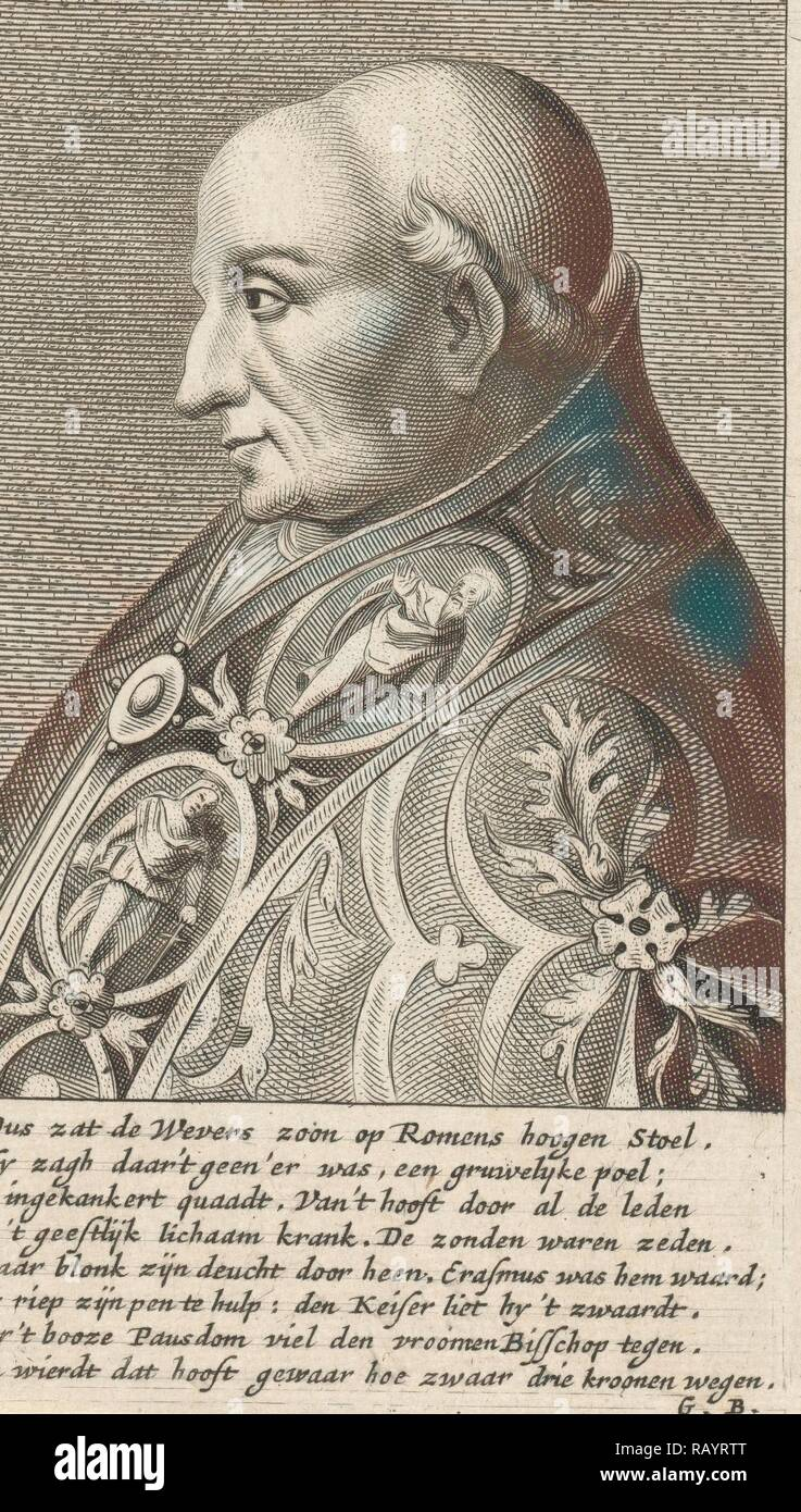 Portrait Bust of Pope Adrian VI with a richly ornamented robe, print maker: Hendrik Bary, Dating 1657 - 1707 reimagined - Stock Image