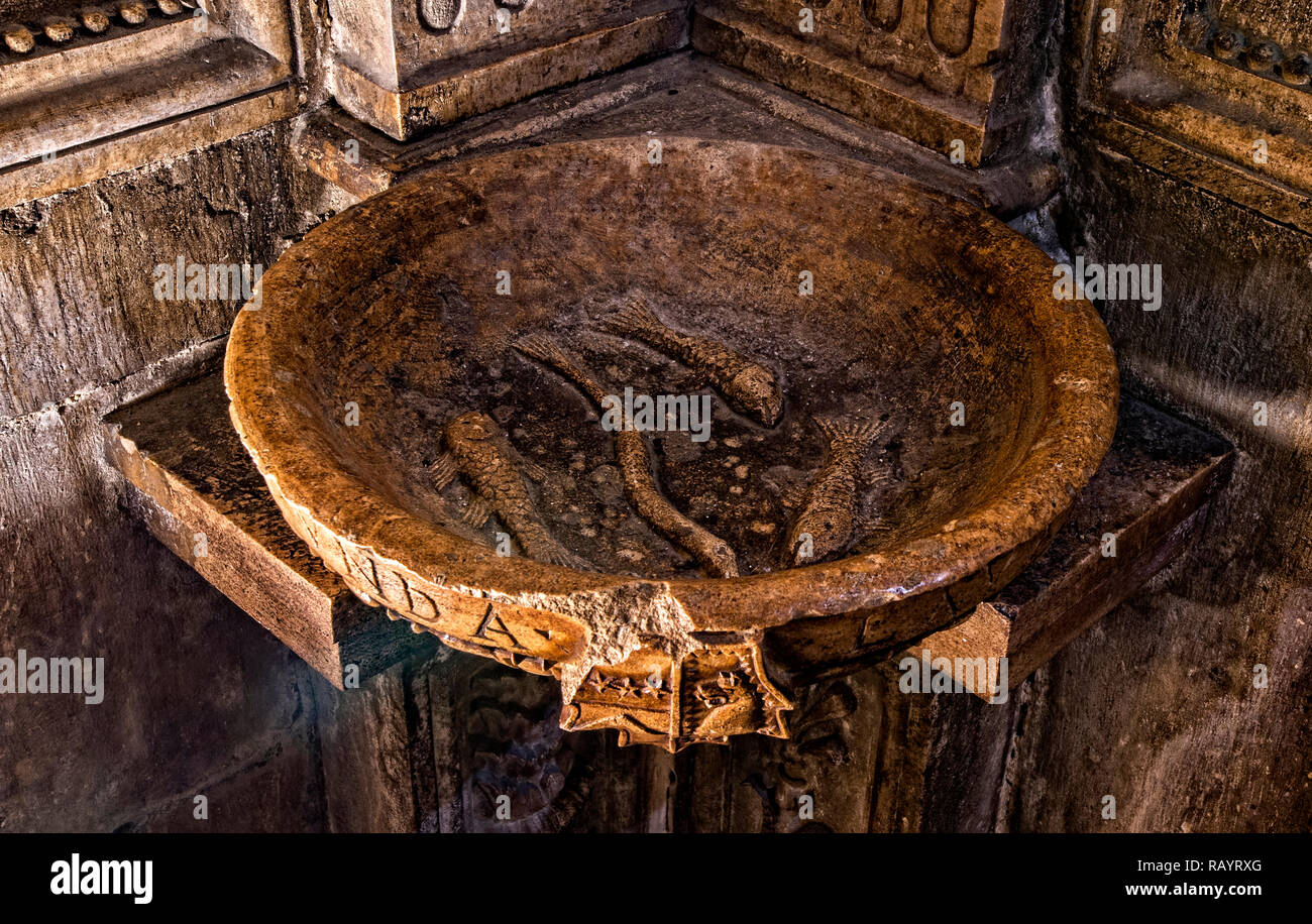 Italy Basilicat Acerenza Cathedral crypt font Stock Photo