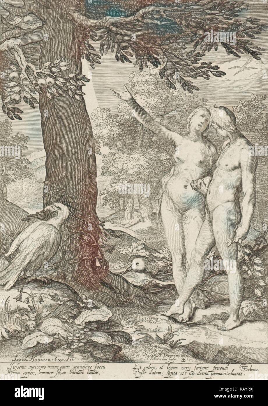 Adam and Eve before the Tree of Knowledge of Good and Evil, print maker: Jan Saenredam, Abraham Bloemaert, Isack reimagined - Stock Image