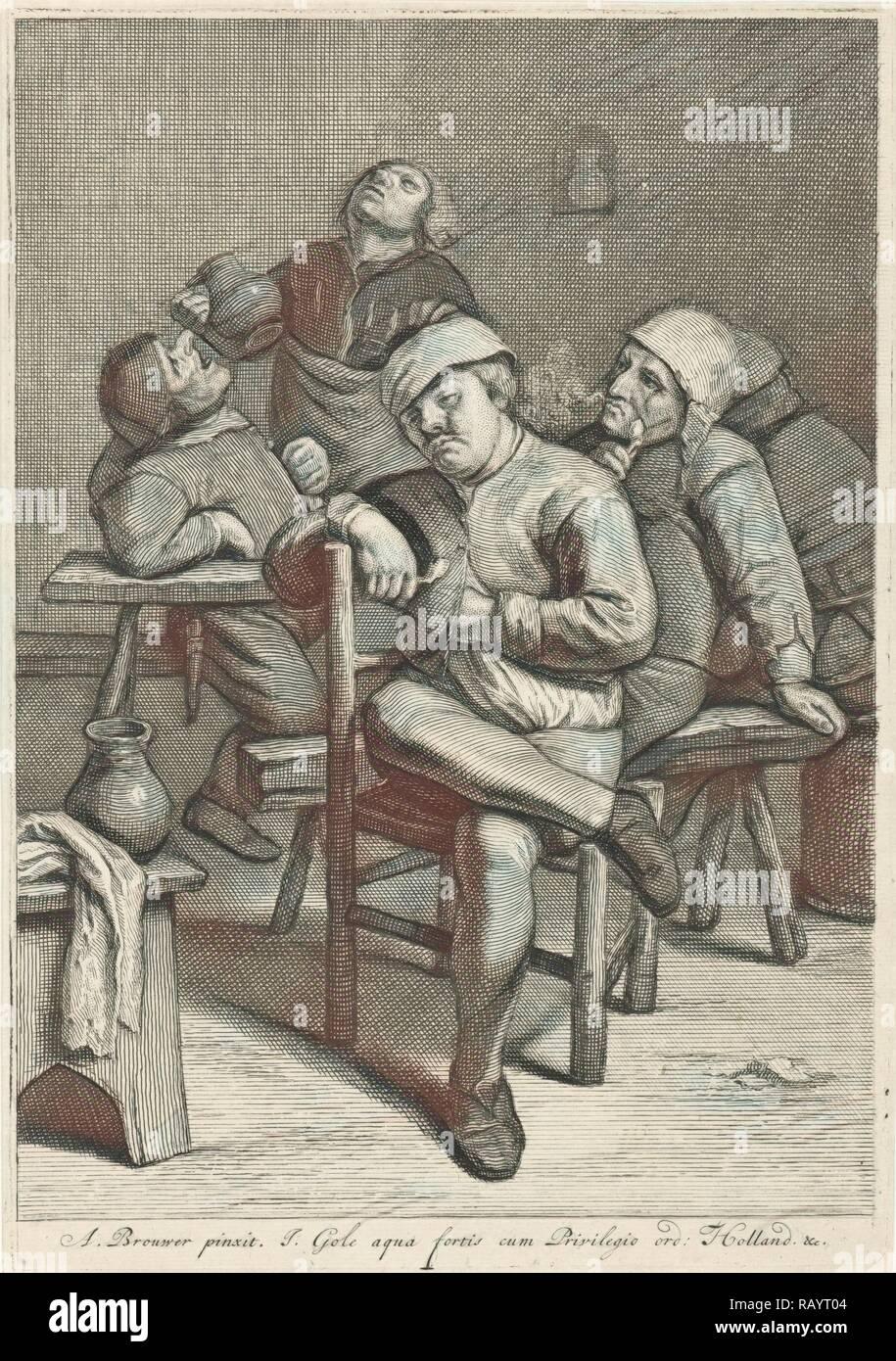 Tavern Scene with smoking farmers, Jacob Gole, Republiek der Zeven Verenigde Nederlanden, 1670 - 1724. Reimagined - Stock Image