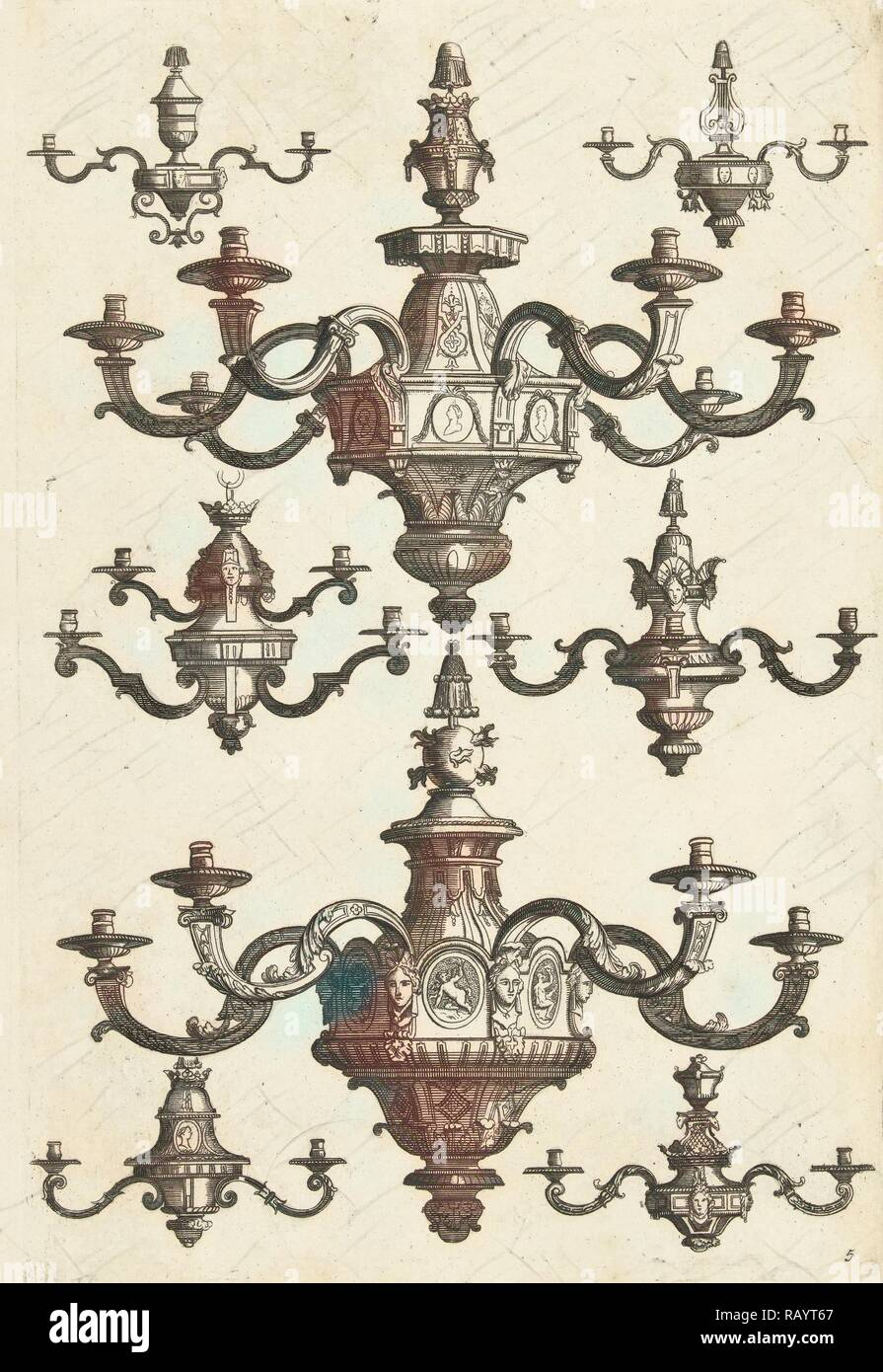 Two large and six small chandeliers, Daniël Marot (I), Anonymous, Anonymous, after 1703 - before 1800. Reimagined - Stock Image