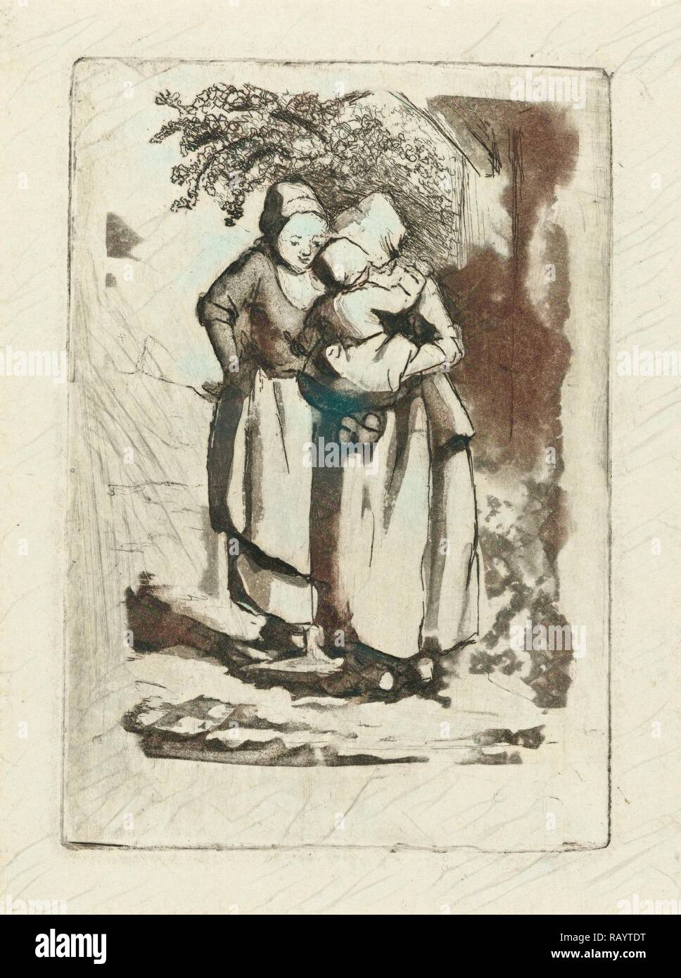 Two standing peasant women, one with a child on her arm, Marie Lambertine Coclers, 1776 - 1815. Reimagined - Stock Image